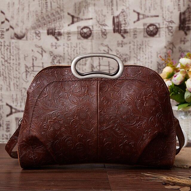 100% Natural Skin Top Handle Bag Tote Cross Body Handbag Retro National style Genuine Leather Women Shoulder Messenger Bags