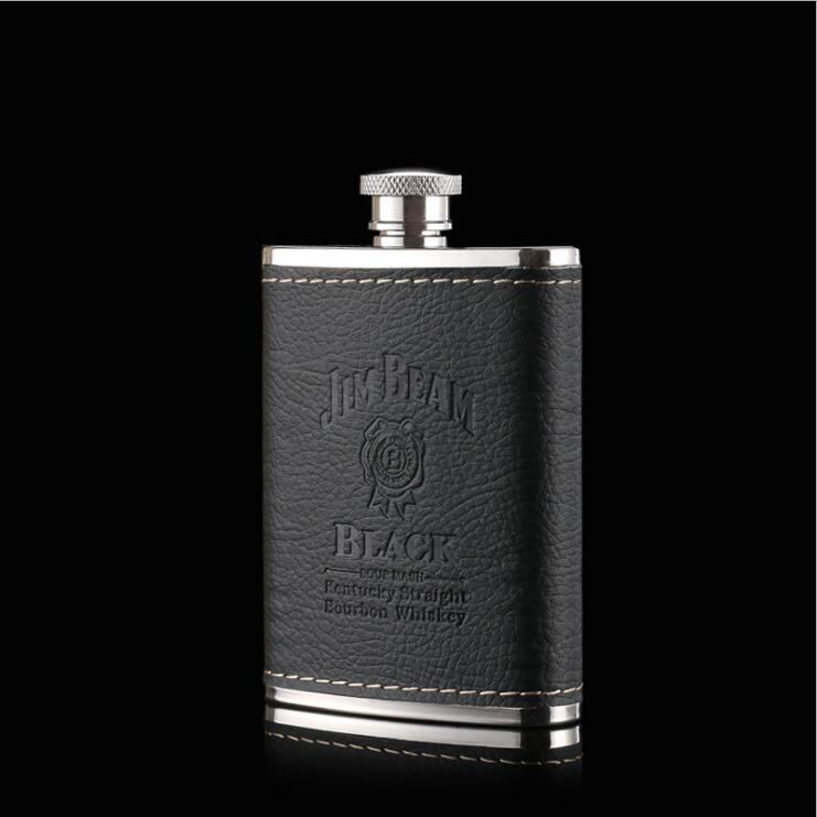 Whisky Bottle 304 Stainless Steel Wine Hip Flask With PU leather 3oz Travel Alcohol Whisky Pocket Hip Flask Whisky BJJ341