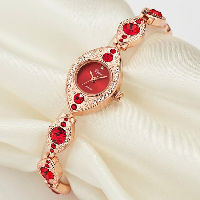 DIFEINI Quartz Watch Women 2018 Women Bracelet Watches Stainless Steel  Luxury Oval Top Diamond Gemstone Femme Female Watch