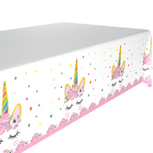 1pcs 1.8*1.08m Flower Unicorn Disposable Tablecloth for Kids Birthday Party Plastic Tablecover Decoration