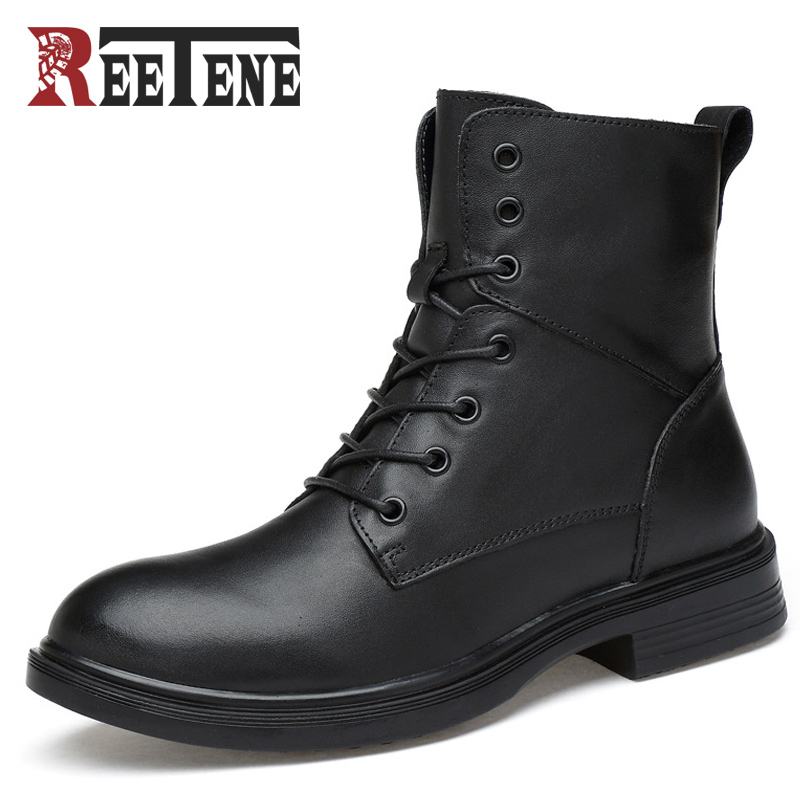 Reetene Fashion Black Casual Men Boots Lace-up Winter Men Shoes Solid Winter Comfortable Wear Cool Spring Autumn Ankle Boots mulinsen latest lifestyle 2017 autumn winter men