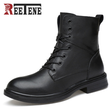 Reetene Fashion Style Black Men Casual Wear Boots Lace-up Male Shoes Solid Winter Comfortable Wear Cool Spring Autumn Shoes