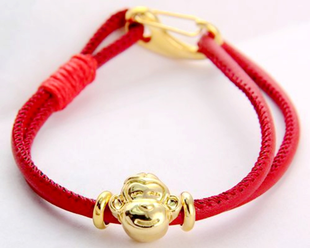 Wholesale 1Pcs SHA MBA Lara Charm Leather Bracelet Lobster Clasp Tibetan Gold Monkey image