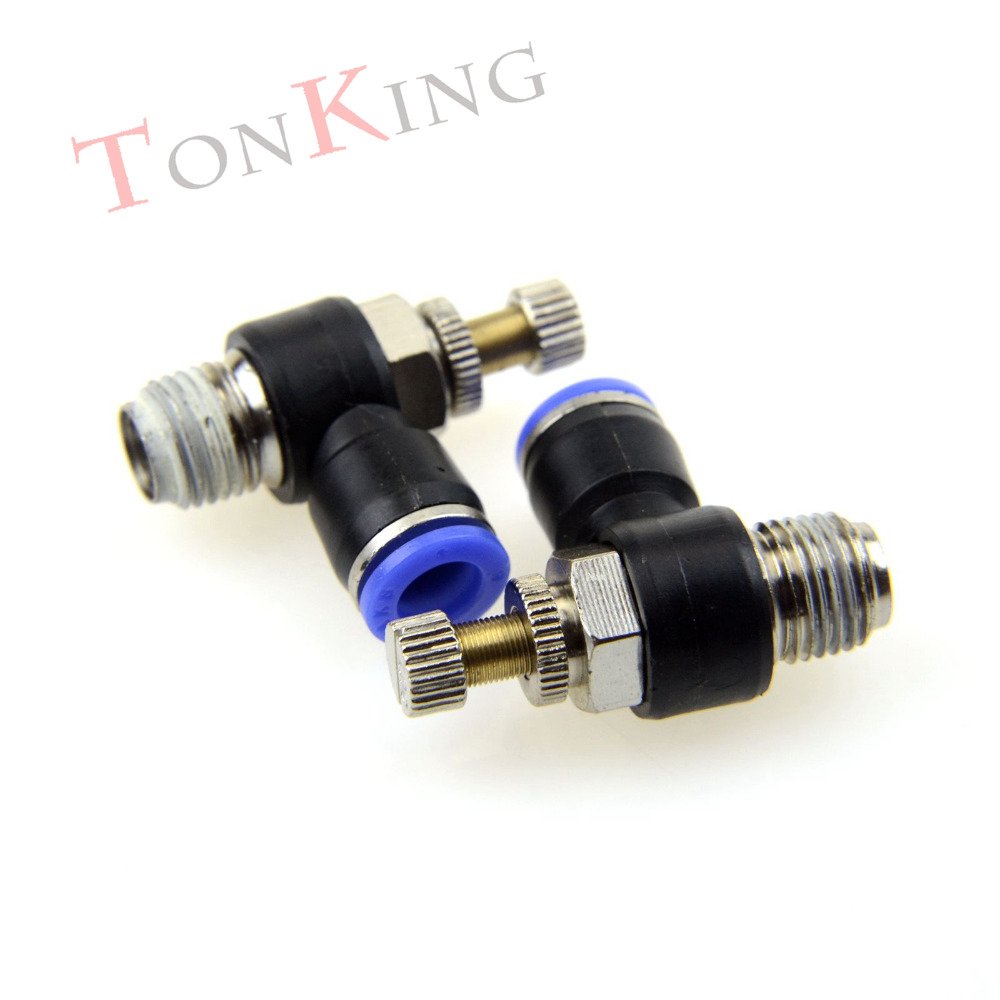 Pneumatic fitting quick L type Throttle valve SL series Pressure Regulate Connector Flow Control joint fitting high quality hydraulic pump double throttle check valve flow valve z2fs22 30b stack valve
