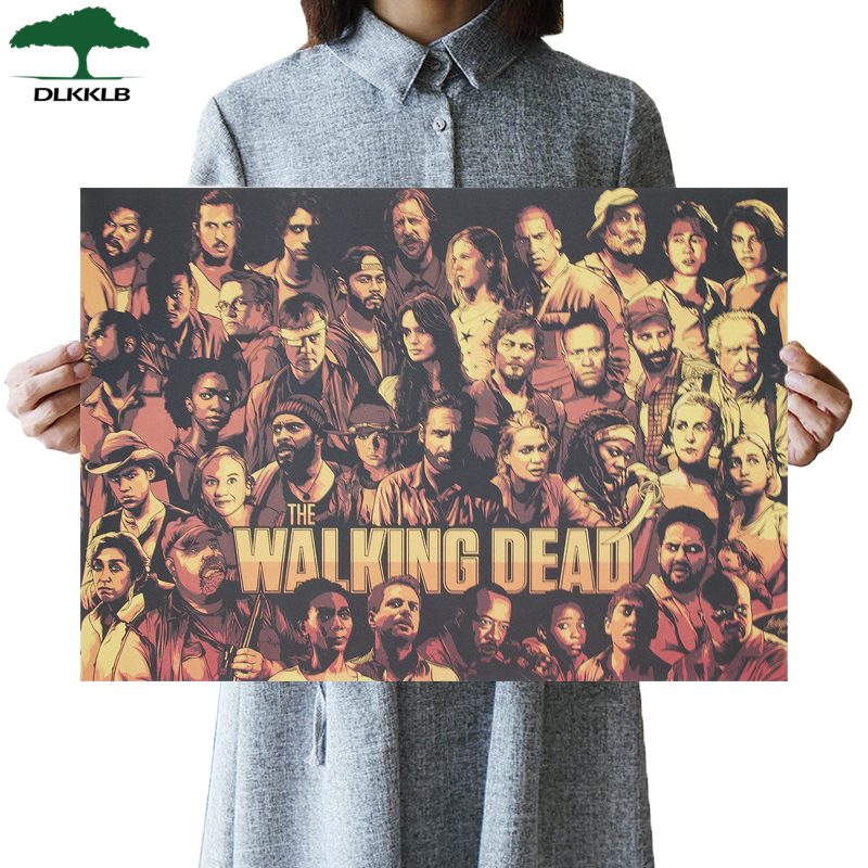 DLKKLB The Walking Dead Vintage Poster Classic Hot TV Manga Style Kraft Paper Retro Poster Bar Cafe Decor Painting Wall Sticker