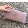 Women Purse Credit Card Holders Zippered Leather Bags Cow Leather Female Wallet Long Carteira Pink Black