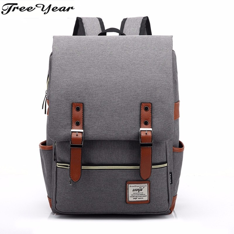 Canvas Backpack Lightweight Laptop Backpack Vintage Travel Backpack with Laptop Sleeve, Campus Backpack with Side Pockets Canvas ...