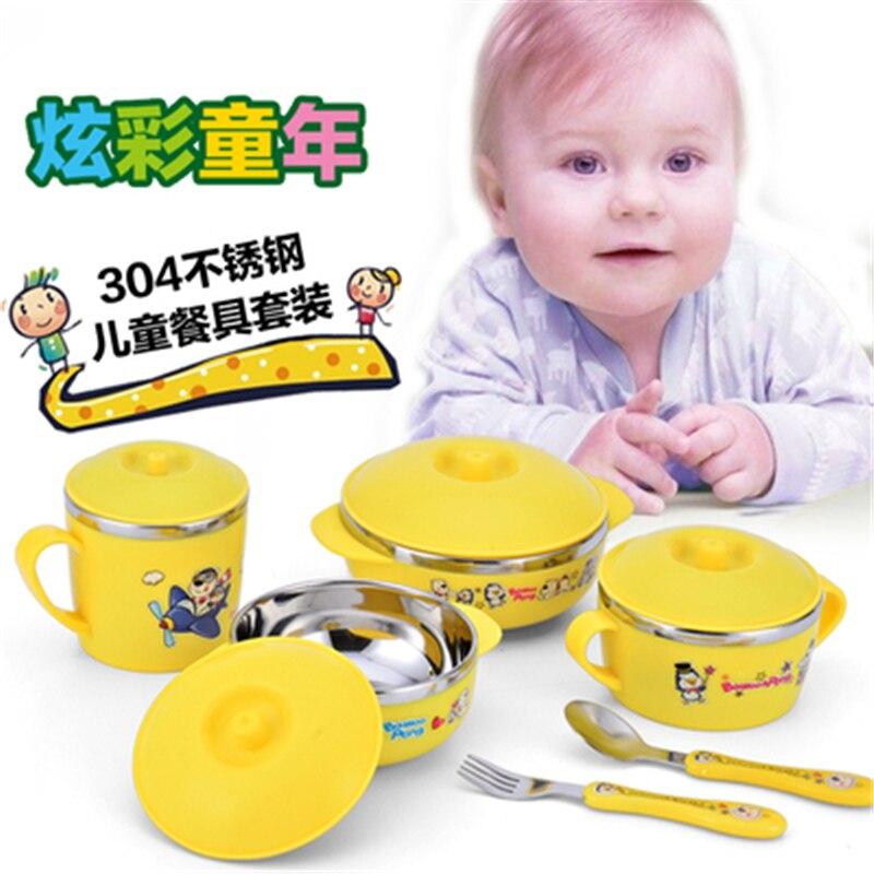 4PcsSet Baby bowl spoon fork with lid Stainless Steel Tableware Set Feeding Food Tableware Kids Dishes Dinnerware Anti-hot Gift