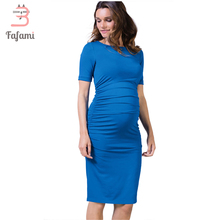 Stylish Round Neck Lycra Maternity Dress