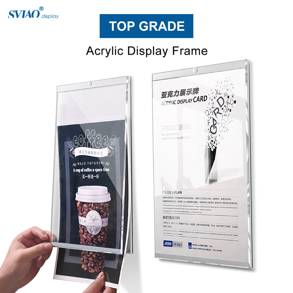A4 Magnetic Wall Mount Poster Display China Menu Sign Holder Acrylic Poster Picture Photo Frame Board For Office Decoration