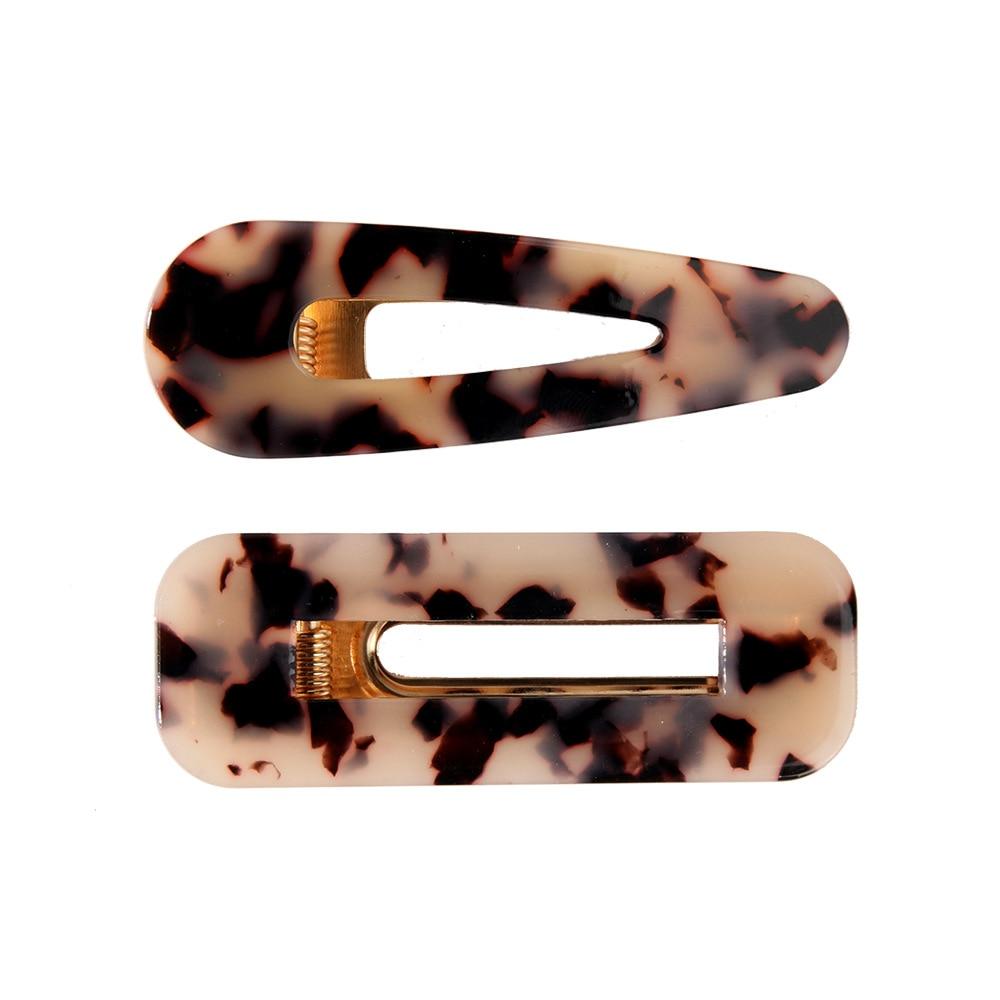 Купить с кэшбэком 2pcs Vintage Hollow Hair Clip For Women Leopard Marble Textured Geometric Water Drop Duckbill Barrette Hairpin Hair Accessories