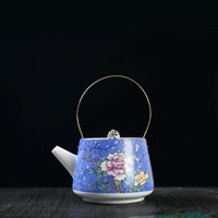 240ml Palace Style Porcelain Teapot Hand Painted Enamel Flower Pattern Top handle Pot Coffee Milk Kettle Drinkware Puer Pots