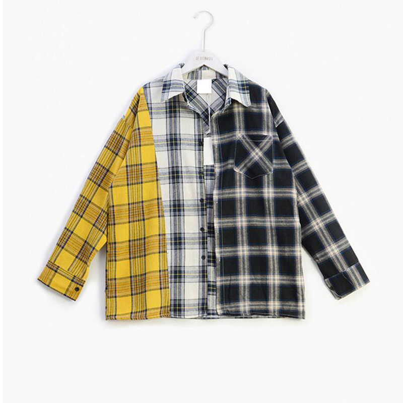 Korean Fashion KPOP BTS Bangtan Boys SUGA The Same BF Style Yellow Plaid Shirt Women Blouses and Tops Outerwear Blusas Feminina
