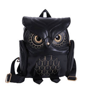 Maison Fabre Backpack Girl Fashion Cute Owl Leather Backpack Women Cartoon School Bags