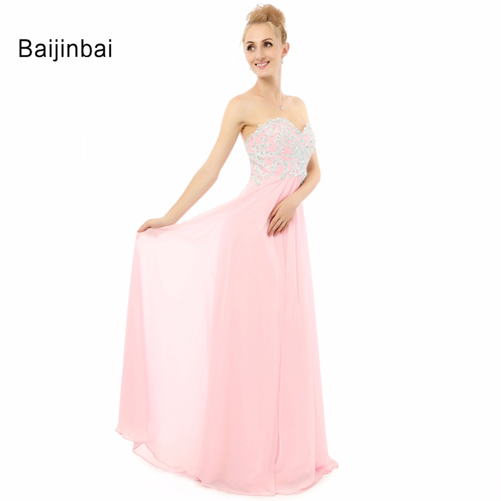 ⑤Baijinbai vestido de dama de honor Rosa largo formal gasa ...