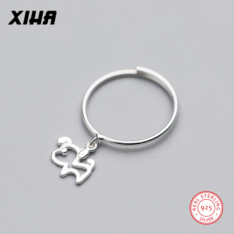 XIHA Hollow Dog Animal Pendant 925 Sterling Silver Rings for Women Simple Vintage Engagement
