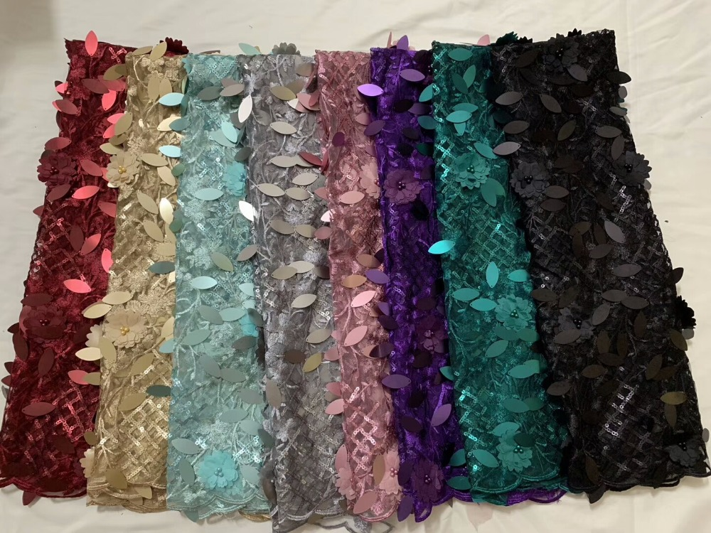 Beautiful sequins 3 D decorative beads French lei's lace fabric, high quality high grade, 5 yards zjcd1122