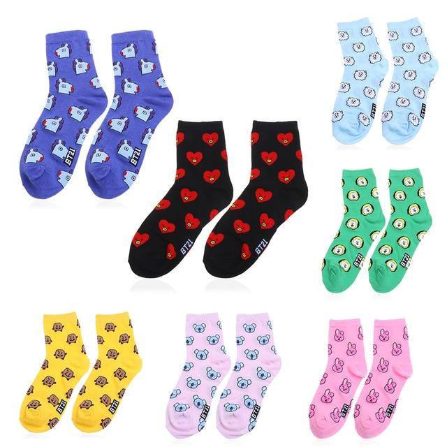 fe7a6350e 2019 New Hot KPOP BTS Cotton Happy Socks Women Fashion BT21 CHIMMY COOKY  KOYA TATA SHOOKY Cartoon Casual Sock KPOP Funny Hosiery
