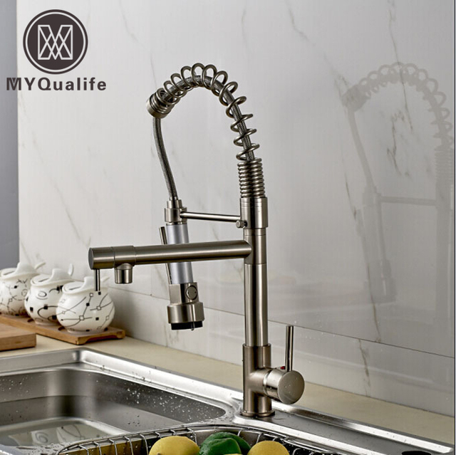 Bon Promotion Good Quality Kitchen Faucet Mixer Taps Brushed Nickel Dual  Sprayer Spring Kitchen Sink Faucet