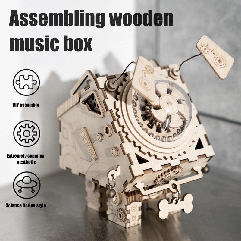 Boîte à musique en bois Kit bricolage manivelle mécanisme Musical 3D en bois modèle bâtiment cabine boîte à musique carrousel DC156