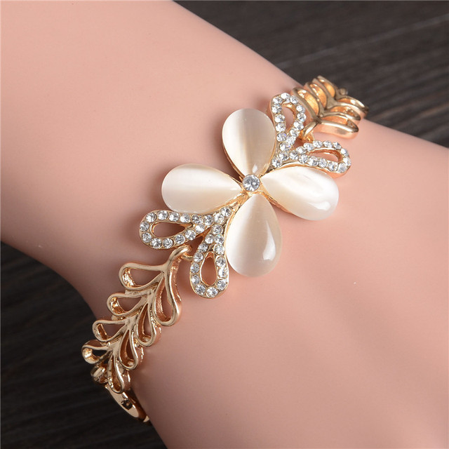 ZOSHI Brand Opal Stone Bracelet & Bangle New Fashion Crystal Jewelry Women Wedding Handmade Charm Golden Plated Bracelet
