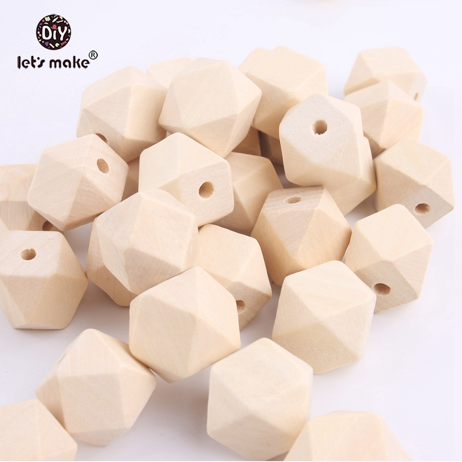 Let's Make Wooden Beads Baby Toy 100 PCS 20x20mm Natural Unfinished Geometry Wood Bead Hexagon For Necklace Wooden Teether