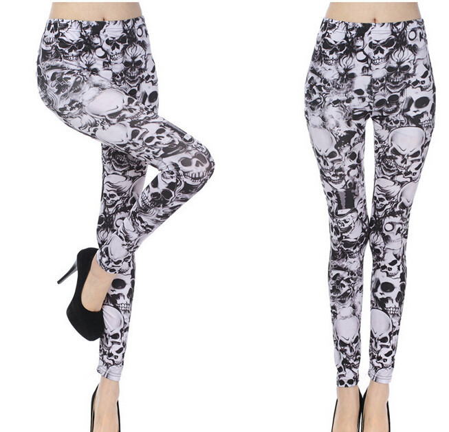 10pcs/lot free shipping spring autumn punk style woman sexy legging ankle length black white skull legging free size