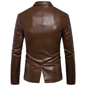 Image 2 - Size M 5XL men business casual leather pocket decoration new autumn and winter suits turn down coat collar Leather jacket cloth