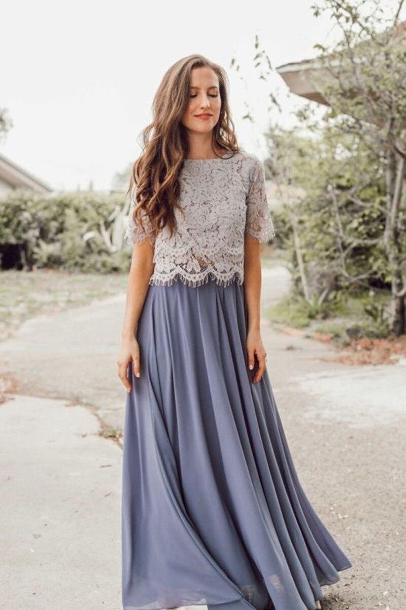 Robes de demoiselle d'honneur Vintage en dentelle 2019 deux pièces robe de fête de mariage en mousseline de soie robe de noiva robes de mariée invités