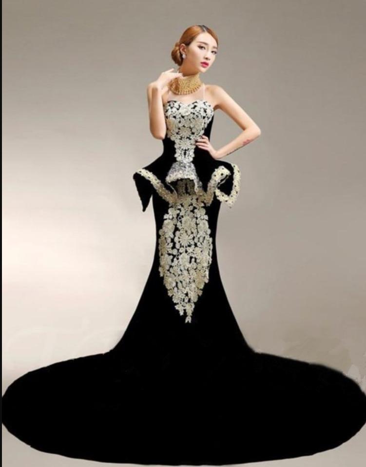 Роскошные See Through высокая шея вечернее платье без рукавов Модные Русалка Кружева Аппликация Черный Корея велюр платья