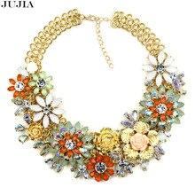 2016 Новый воротник винтажной моды красочные цветочные ожерелья и кулоны тяжелой цепи костюм коренастый колье модный заявление Ожерелье