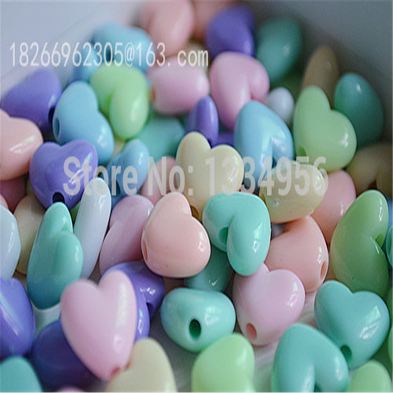 100pcs/lot Charms Mixed Colors 10mm Acrylic DIY Craft Necklace Heart Loose beads for Jewellery Making Bracelet Free Shipping
