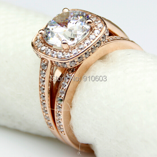 Vintage Wedding Band Set For Women Round Brilliant Center 2ct Simulated Diamond Halo 9k Rose Gold Cathedral Engagement Ring In Rings From Jewelry