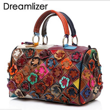 Brand Random Flower Pattern Women Genuine Leather Totes Bags Female Leather Handbags Women Messenger Bags Lady Shoulder Bags