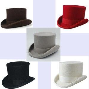 Image 5 - 5 màu sắc Top Hat 15 cm 4 Kích Thước Len Phụ Nữ Người Đàn Ông Top Fedora Hat Ảo Thuật Cà Phê Steampunk Cosplay Punk Đảng mũ Dropshipping