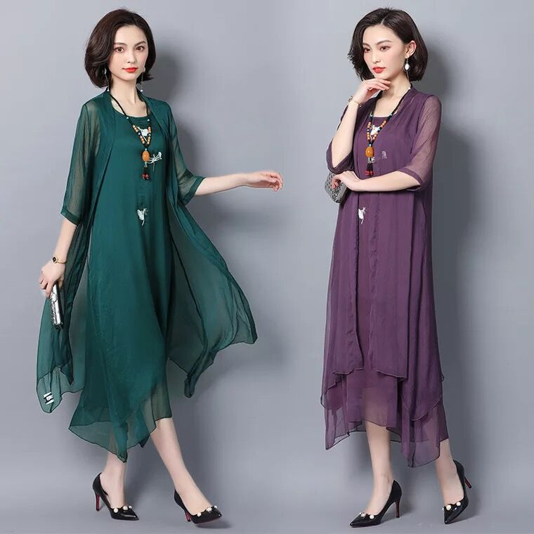 Robe De Soriee 2020 New Green Women's Gradient Mother Of The Bride Dresses With Jacket Asymmetric Chiffon Wedding Party Vestiods