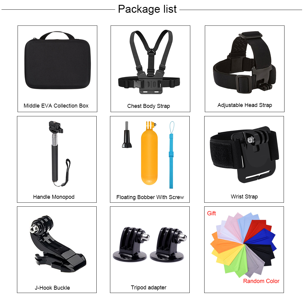 Купить с кэшбэком Action Camera Accessories Kits For Gopro Hero 7 6 5 Case Buoyancy Rod Straps Mounts For Gopro Here 7 4 Session Accessories Yi 4K