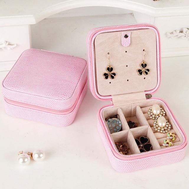 Portable PU Leather Travel Jewelry Organizer Storage Box Case Pink