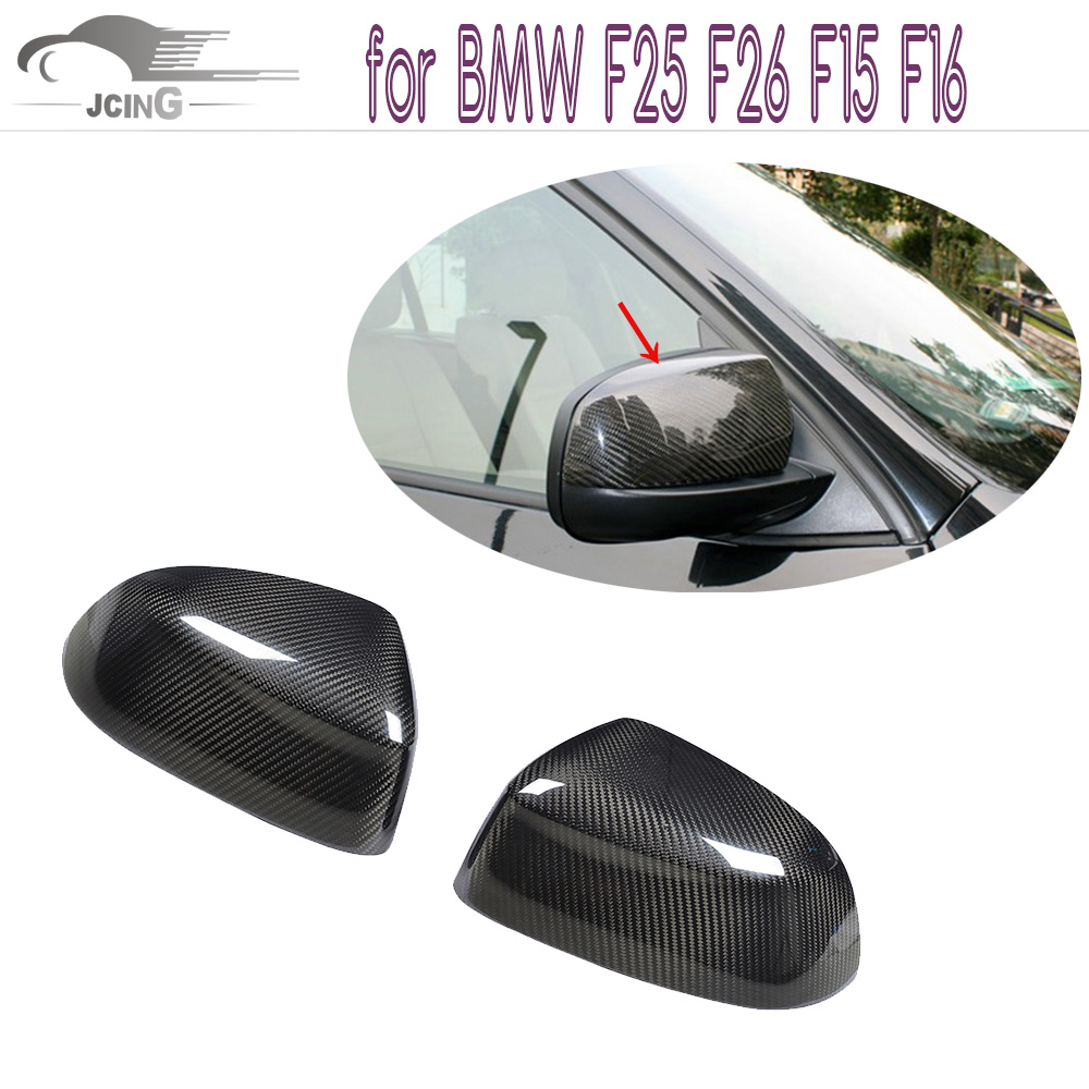 Carbon Fiber Side Mirror Covers Trim Fit For Bmw X3 F25 X4 F26 X5 F15 X6 F16 2014-2016 Add on style Rearview Mirror Caps direct replacement carbon fiber wing mirror covers for bmw x5 f15 x6 f16 facelift auto side mirror caps car styling