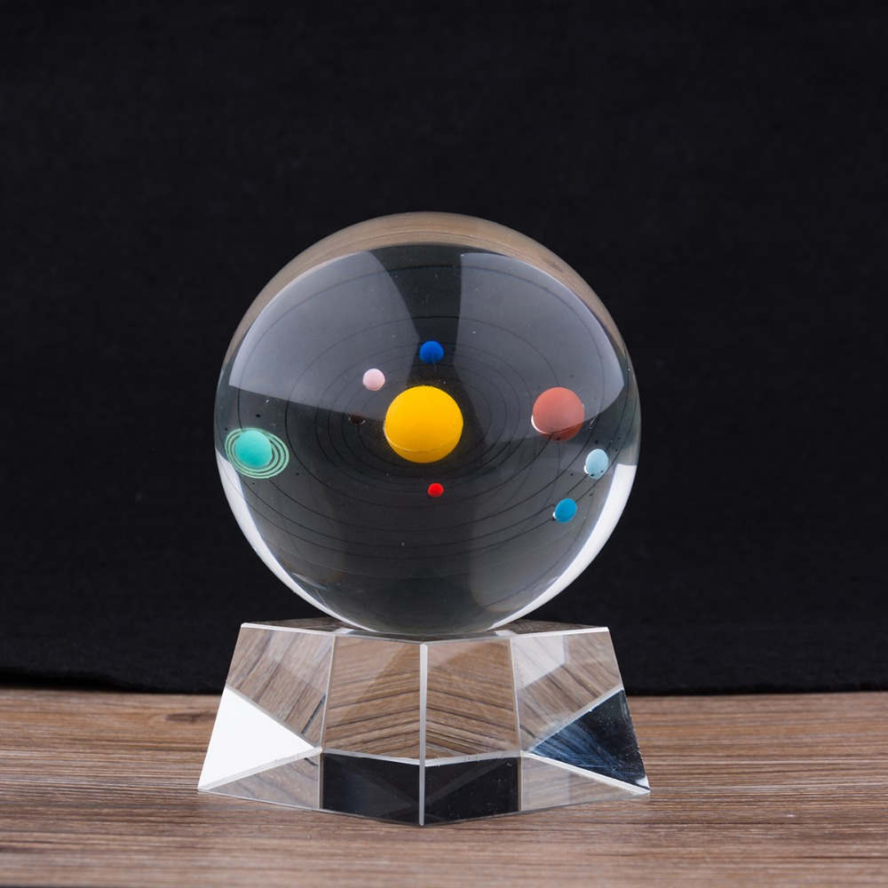 Top Quality Solar System Crystal Ball Astronomical Celestial Eight Planets Galaxy 8 Planetary Home Decoration Business Gift