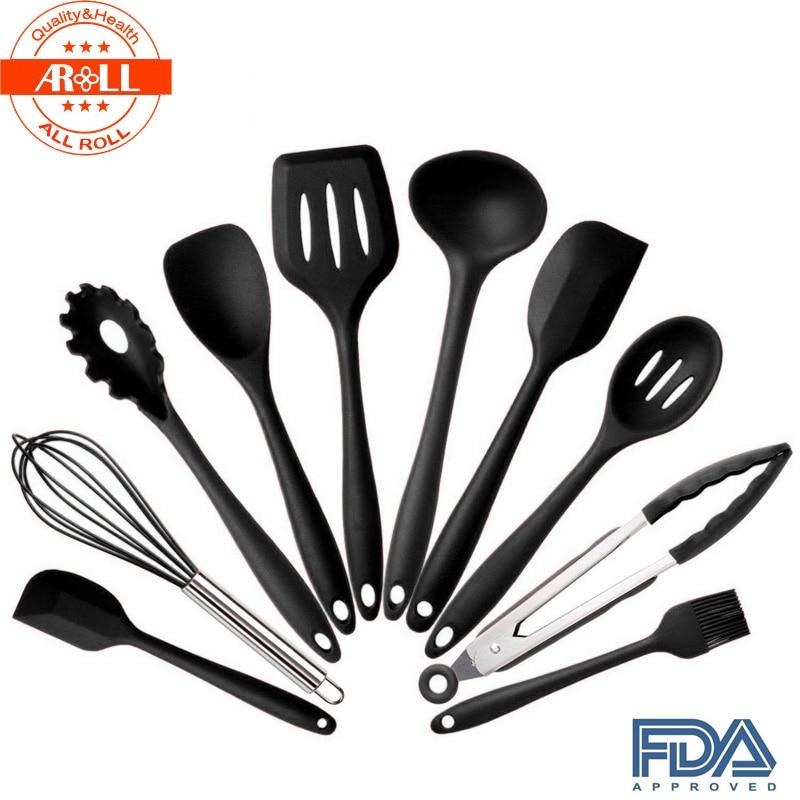 Silicone kitchen utensils cooking utensil tool sets baking for Kitchen set utensils