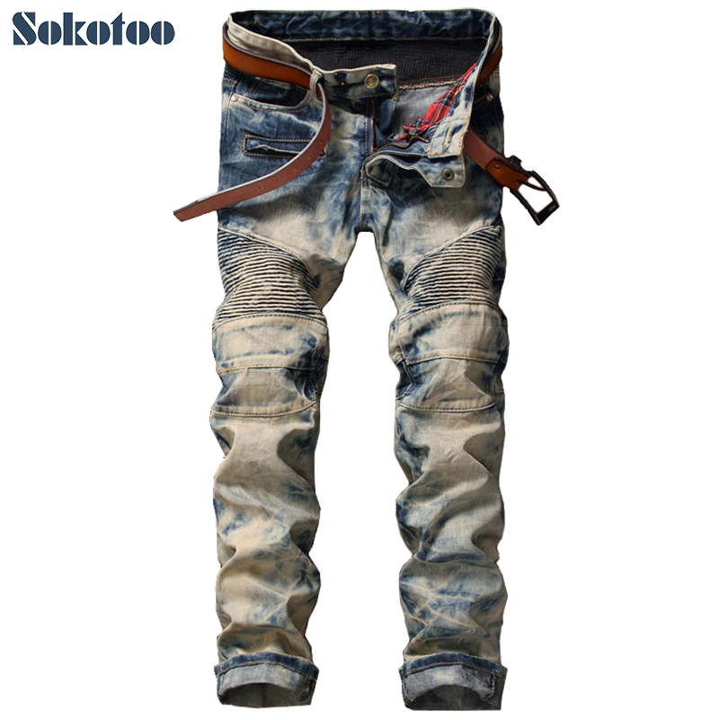 Sokotoo Mens vintage snow wash pleated biker jeans Casual slim straight tie and dye patchwork cotton denim pants