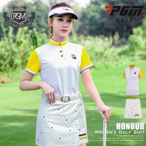 PGM Da Golf Da Donna Set Abbigliamento Manica Corta T-Shirt Stampa del Pannello Esterno del Puntino di Estate Delle Signore Quick-dry Vestito di Sport Sportwear D0731