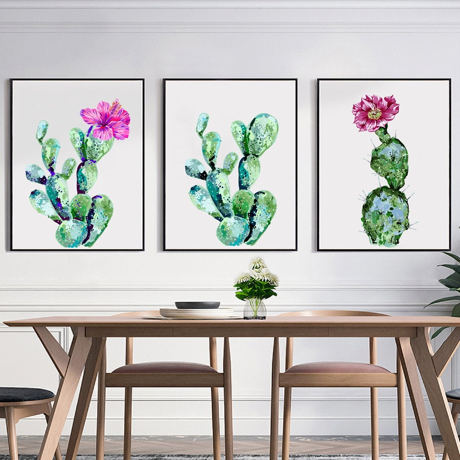 aquarelle cactus toile art print et affiche tropical vert plantes cactus d cor toile peinture. Black Bedroom Furniture Sets. Home Design Ideas