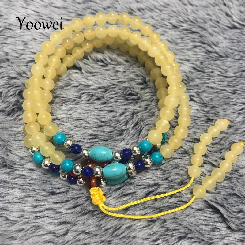 цена на Yoowei Natural Stone Bracelet Amber 108 Honey Beads Creative Jewelry for men women Original Mala Buddha Rosary Bracelets Pendant