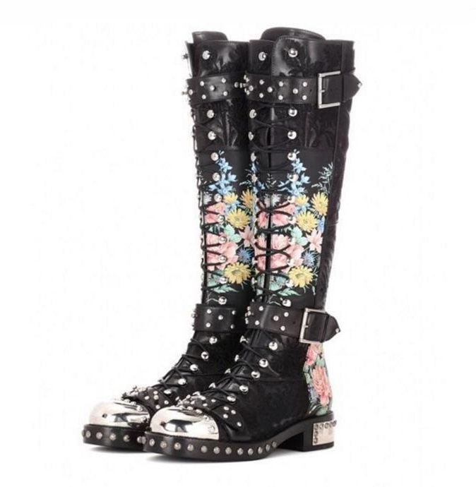 Ladies Rain Boots Flower Print Leather Studded Thigh High Belted Boots Round Toe Lace-up Buckle Strap Over Knee Boots Womens игровая палатка shantou gepai пчелкин домик сумка 889 127b