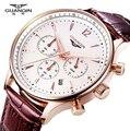 Relógios Homens de Luxo Da Marca Original GUANQIN Esporte Relógios Homens Moda relógio de pulso Cronógrafo à prova d' água Masculino relógio de Quartzo de couro