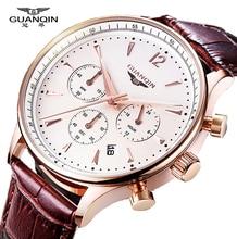 Relojes Hombres Lujo De la Marca Original GUANQIN Relojes Deportivos Hombres de Moda reloj Cronógrafo Masculino impermeable reloj de Cuarzo de cuero