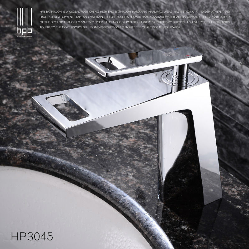 HPB Waterfall Copper Brass Basin Faucet Bathroom Sink Tap Mixer Deck Mounted Hot and Cold Water Single Handle Single Hole HP3045 flg bathroom faucet antique brass all copper double handle 360 degree rotating deck mounted cold hot sink mixer water tap 10703