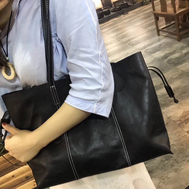 lady genuine leather big black totes for women large real 100% cowhide plain one shoulder bag female soft casual handbag black plain cold shoulder